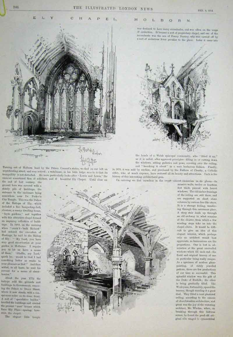 Print Ely Chapel Holborn 1894 London 46Aaaa0 Old Original