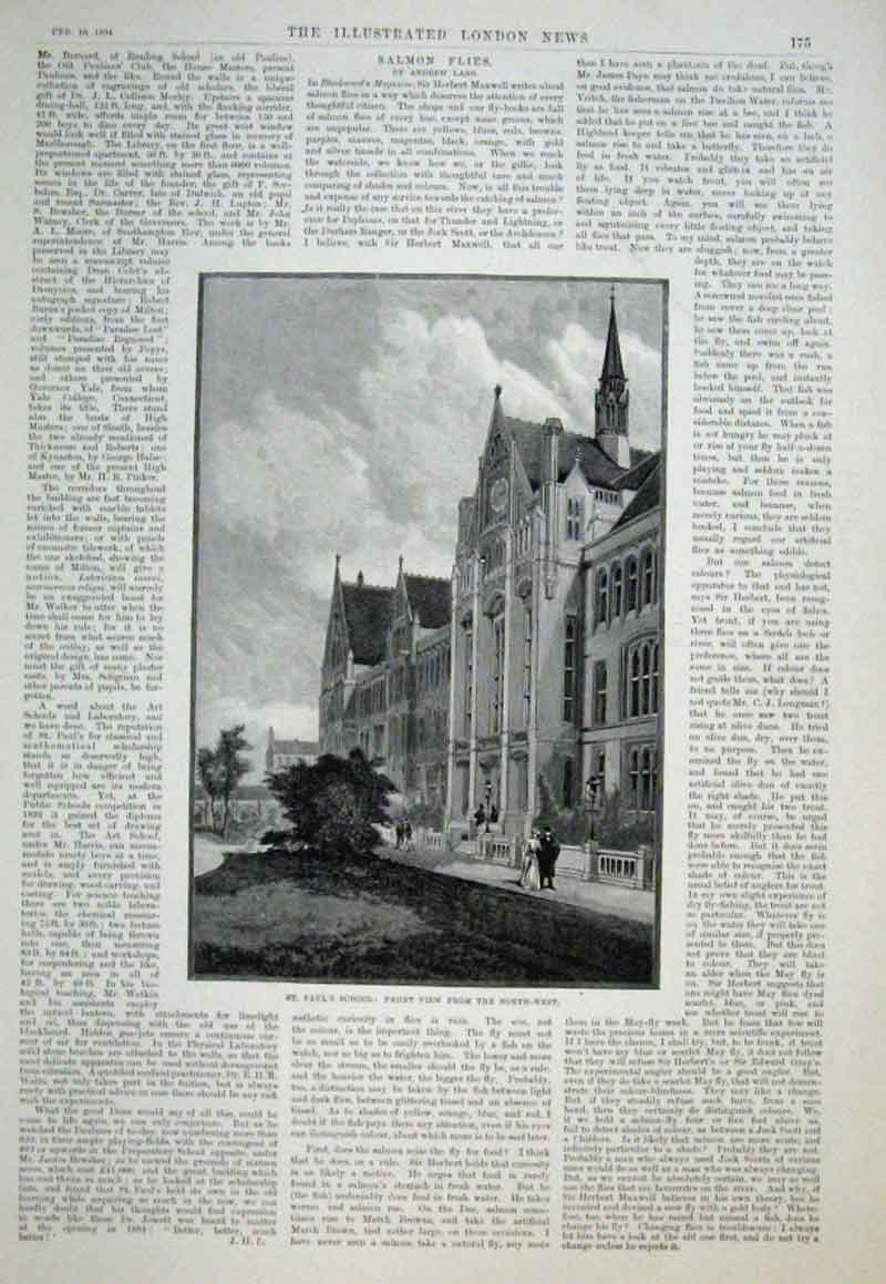Print St Paul'S School 1894 North West Front 75Aaa0 Old Original