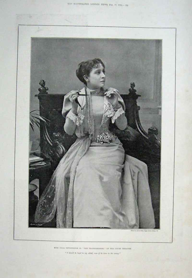 Print Miss Olga Nethersole At Court Theatre 1894 92Aaa0 Old Original
