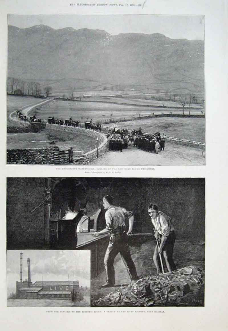Print Manchster Water Works. Recycling Waste 1894 96Aaa0 Old Original