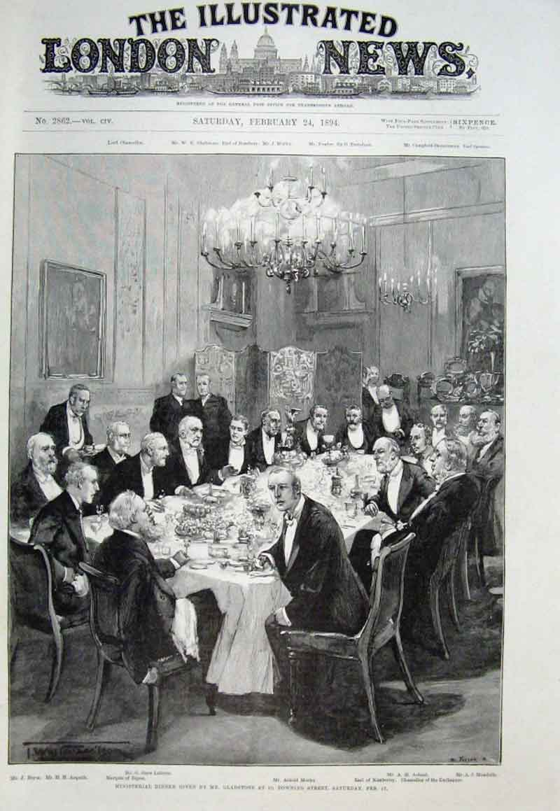Print Misisterial Dinner Given By Gladstone 10 Downing St 189 22Aaa0 Old Original