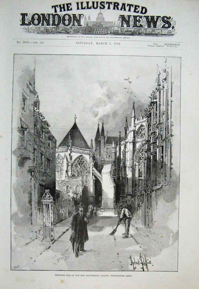 Print Site For Monumental Chapel Westmionister Abbey 1894 50Aaa0 Old Original