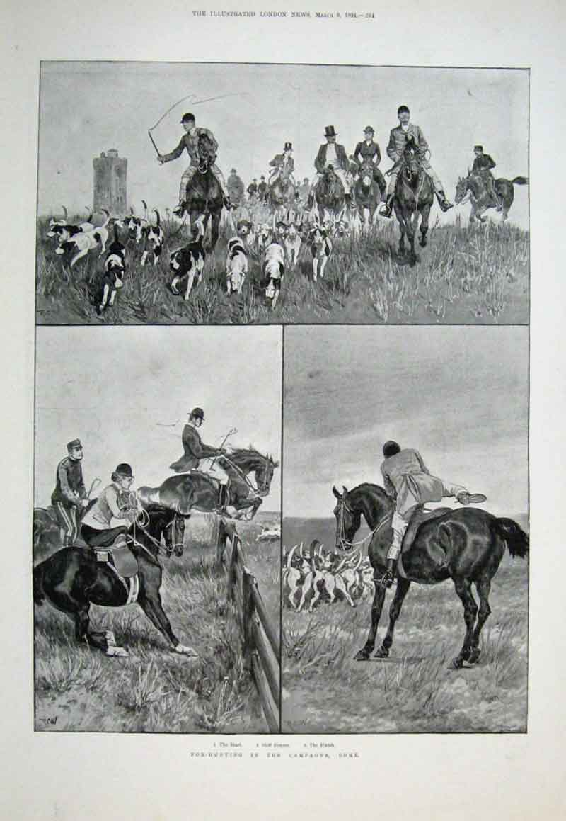Print Fox Hunting In The Campagna Rome 1894 Italy 64Aaa0 Old Original