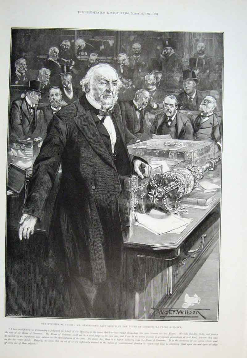 Print Gladstone Last Speech In House As Pm 1894 88Aaa0 Old Original