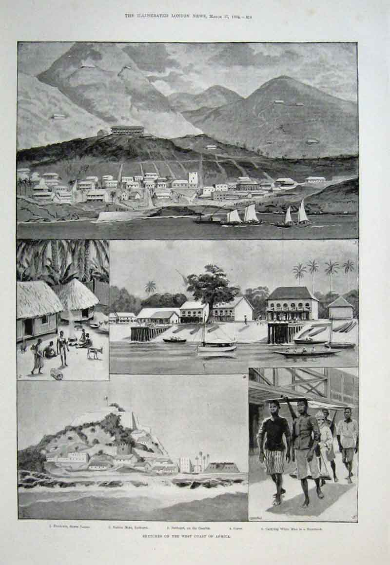 Print West Coast Africa Freetown Sierra Leone Bathurst 1894 16Aaa0 Old Original