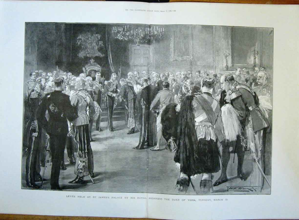 Print Levee At St James Palace 1894 27Taaa0 Old Original