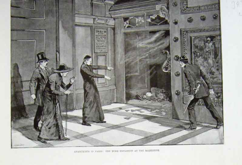 Print Anarchists In Paris Explosion At The Madeleine 1894 49Laaa0 Old Original