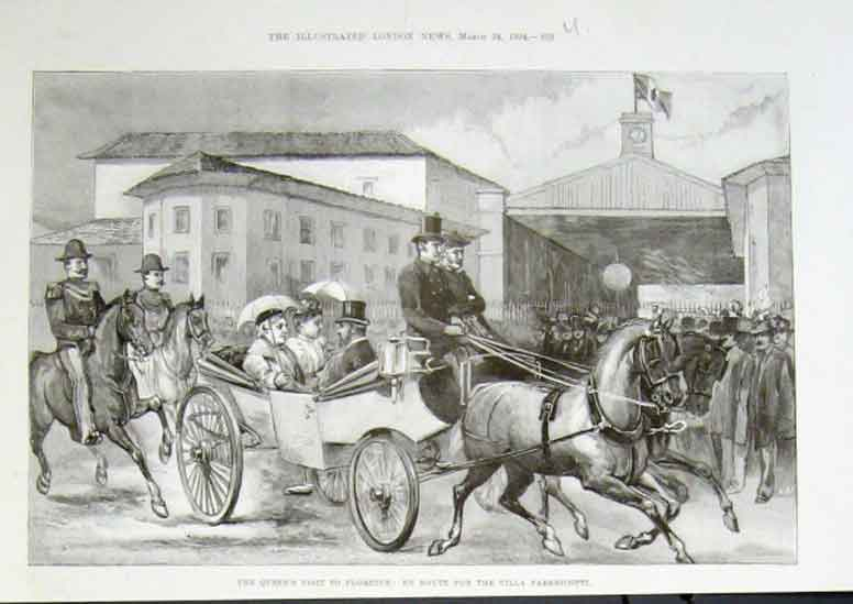 Print Queen Victoria Visits Florence 1894 Italy 52Uaaa0 Old Original