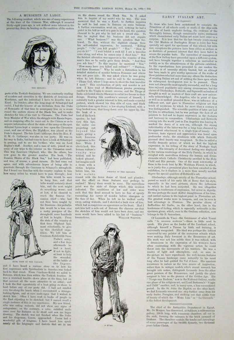 Print A Murderer At Large 1894 & Story 64Aaa0 Old Original