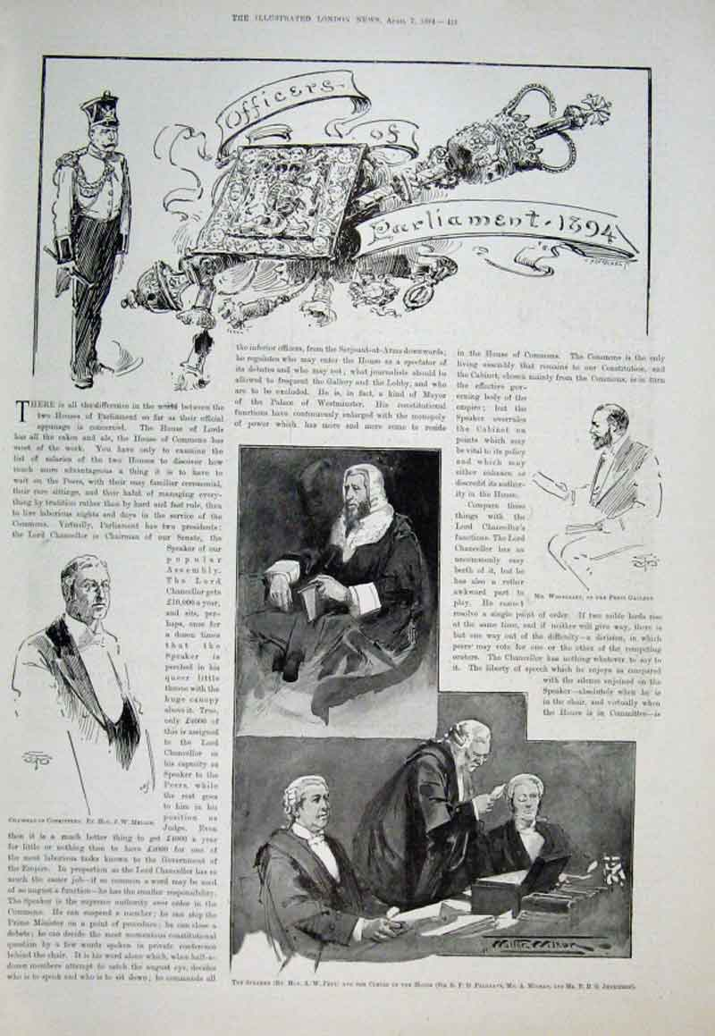 Print Some 1894 Officers Parliament 1894 21Aaa0 Old Original