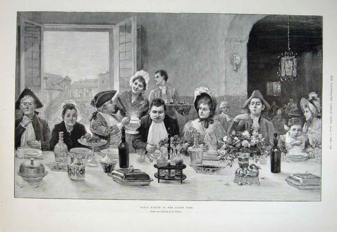 Print Tabled'Hote In Olden Times 1894 Fine Art 28Aaa0 Old Original