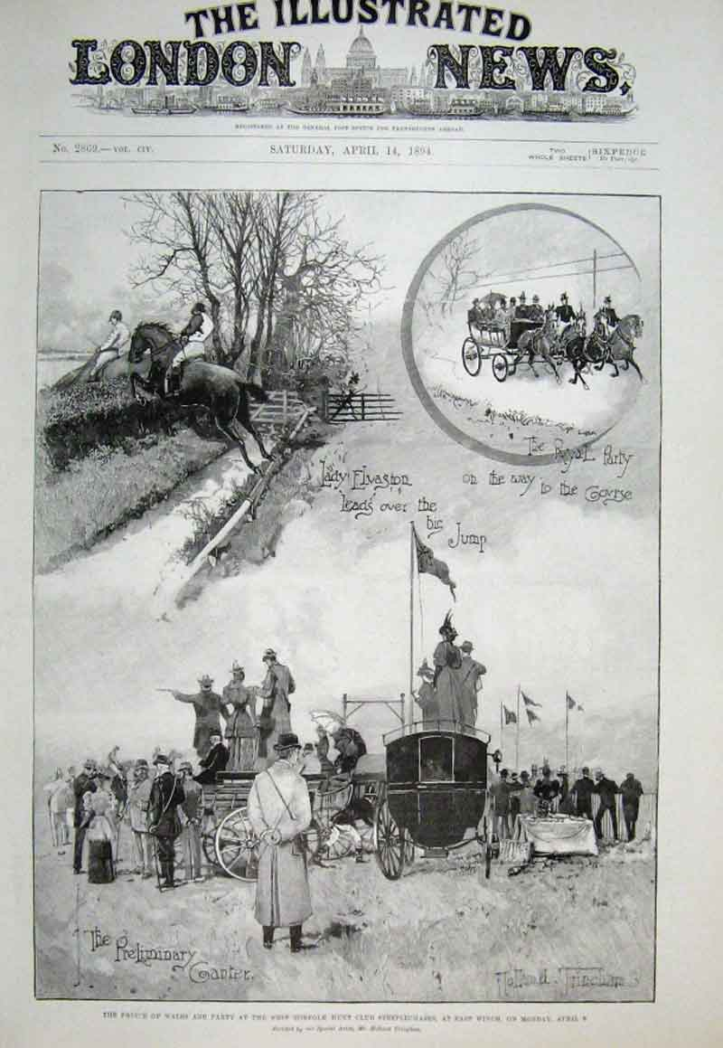 Print Royal Party At West Norfolk Hunt Steeplechase 1894 42Aaa0 Old Original