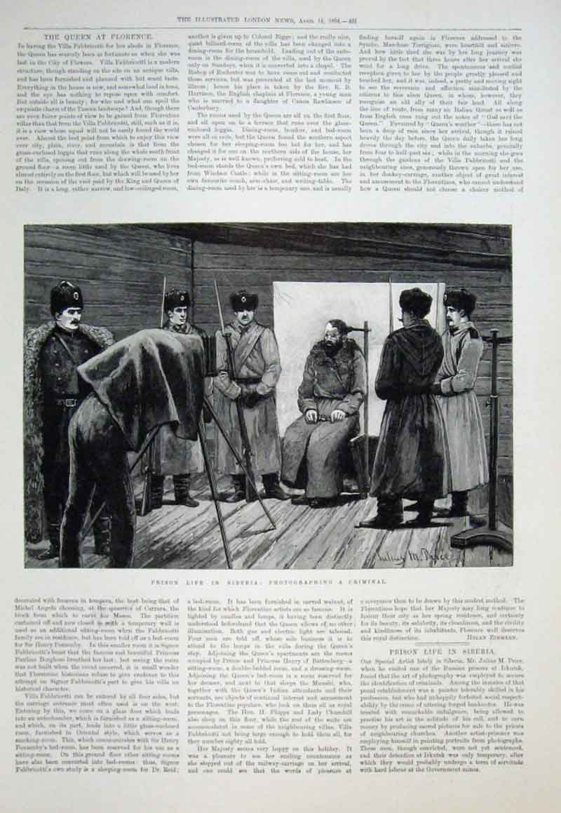 Print Prison Life Siberia Photographing A Criminal 1894 61Aaa0 Old Original