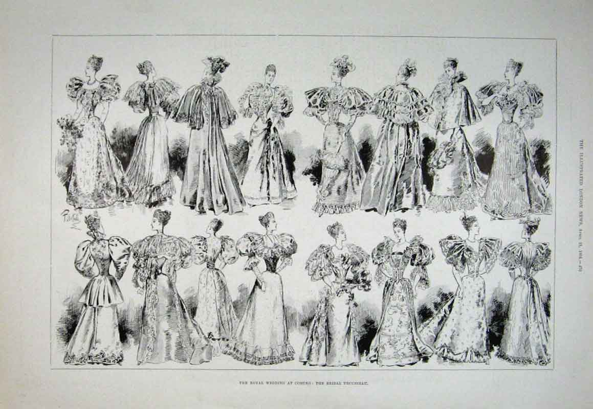 Print Bridal Trousseau At Royal Wedding Coburg 1894 76Aaa0 Old Original