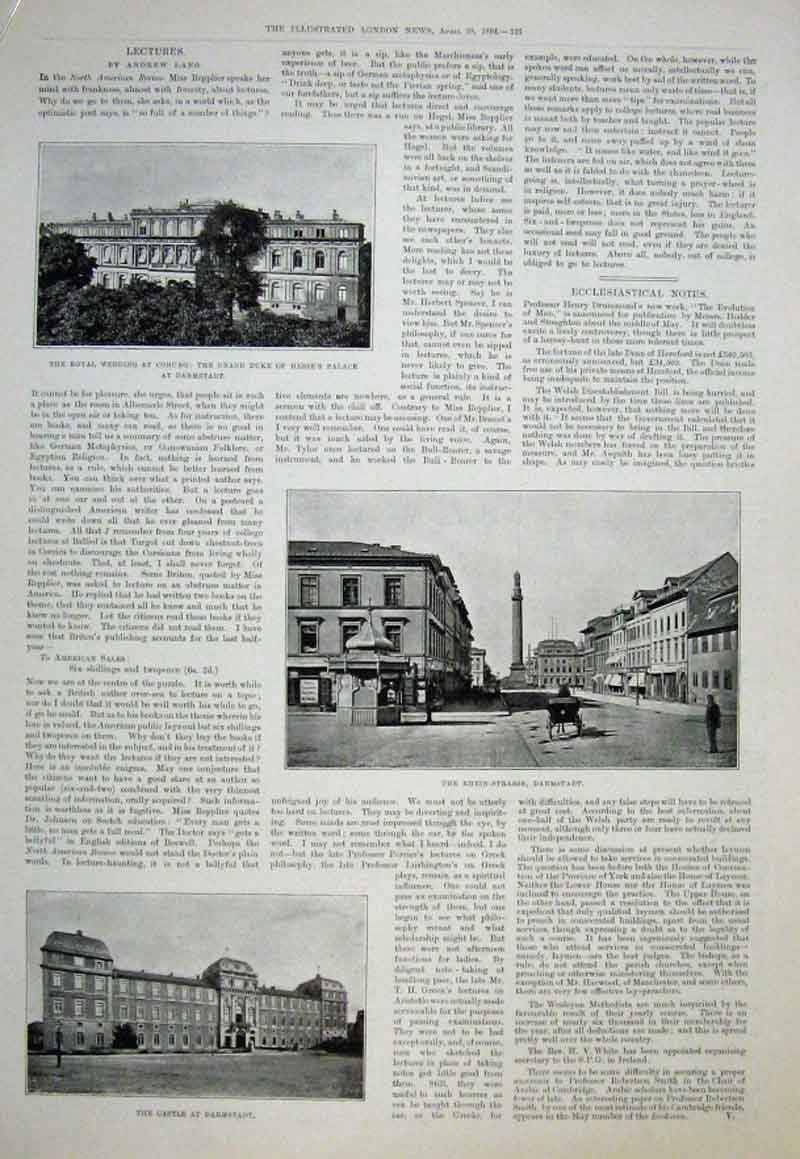 Print Castle At Darmstadt & Coburg Royal Wedding Presents 189 25Aaaa0 Old Original