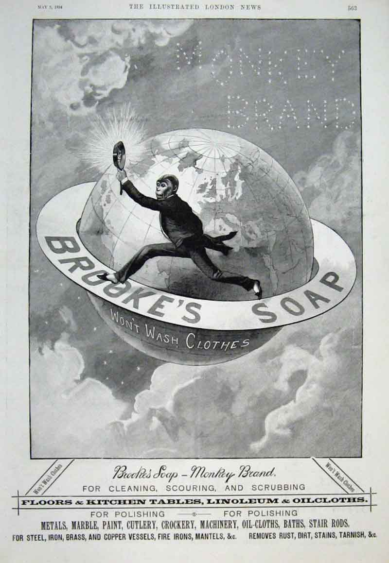 Print Monkey Brookes Soap Around The World 1894 Ad 63Aaa0 Old Original