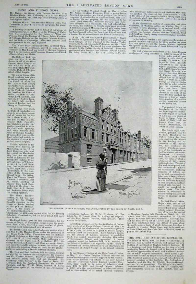 Print Soldiers Church Institute Woolwich 1894 75Aaa0 Old Original