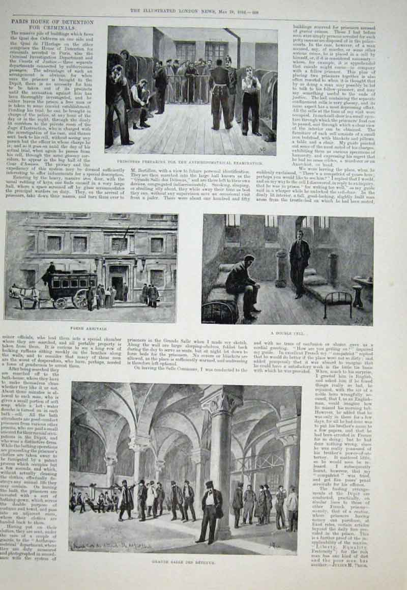 Print Paris House Detention For Criminals 1894 08Aaa0 Old Original