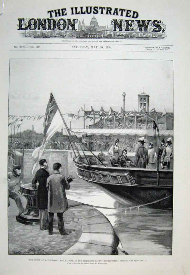 Print Queen Victoria At Manchester Opening Ship Canal 1894 38Aaaa0 Old Original