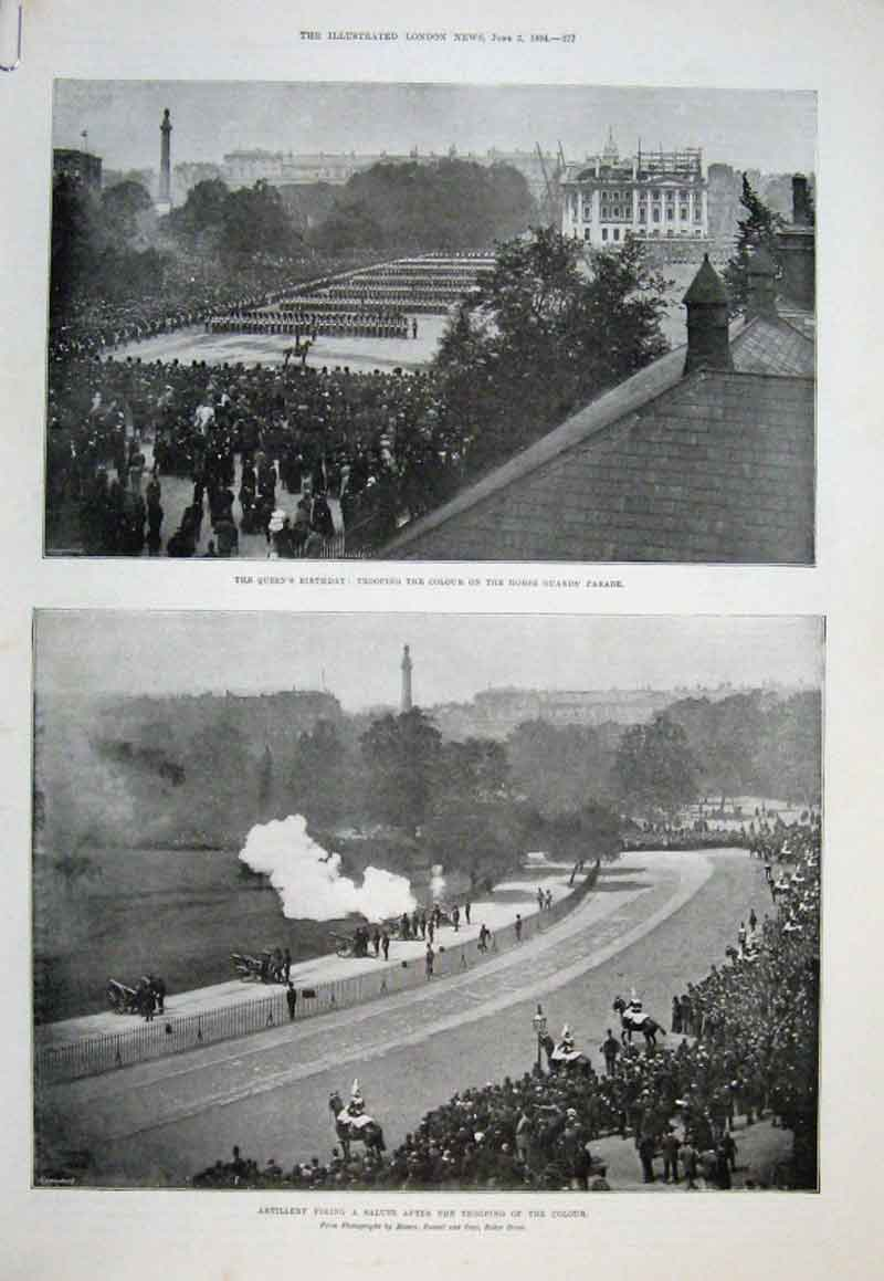 Print Trooping The Colour & Birthday Honours 1894 77Aaaa0 Old Original
