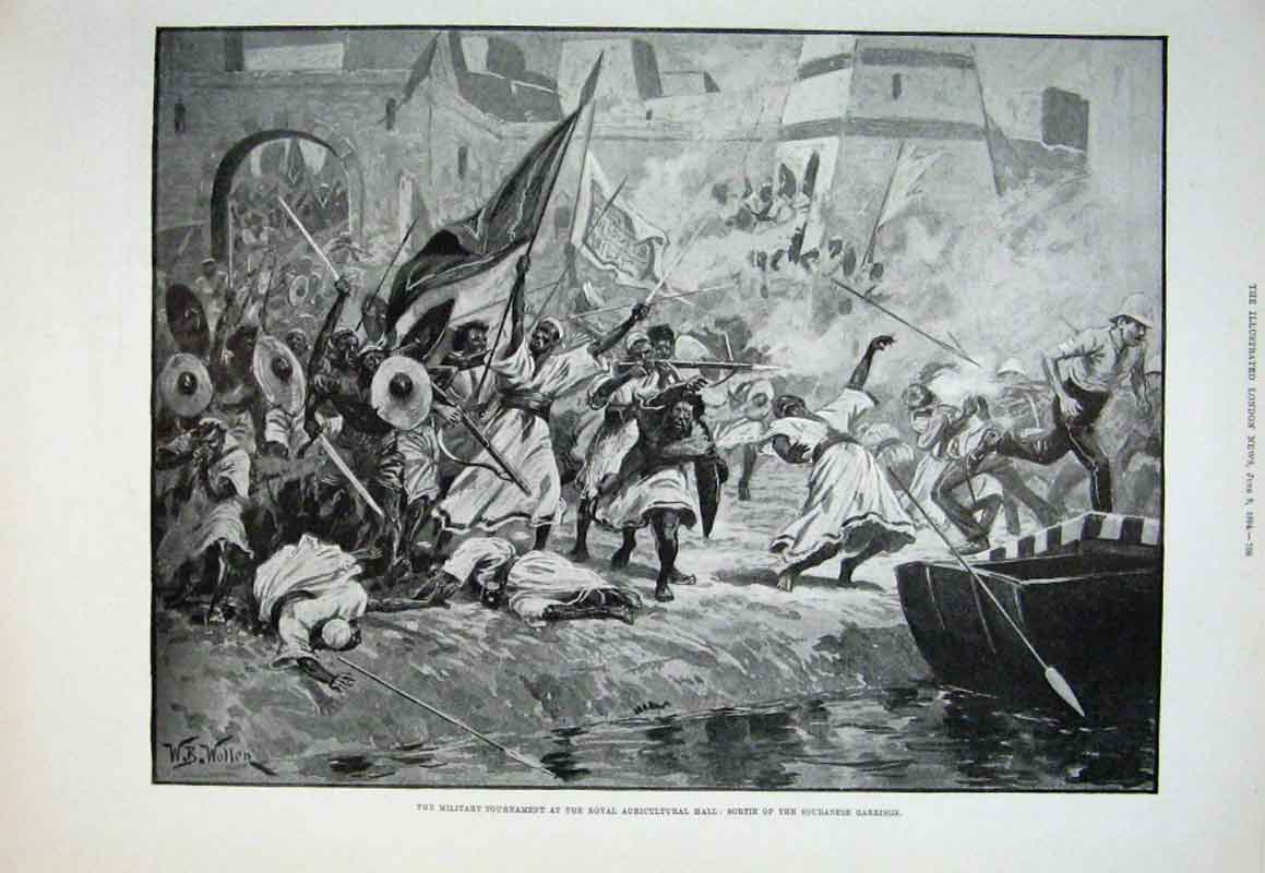 Print Soudanese Garrison Attack Military Show 1894 09Aaa0 Old Original