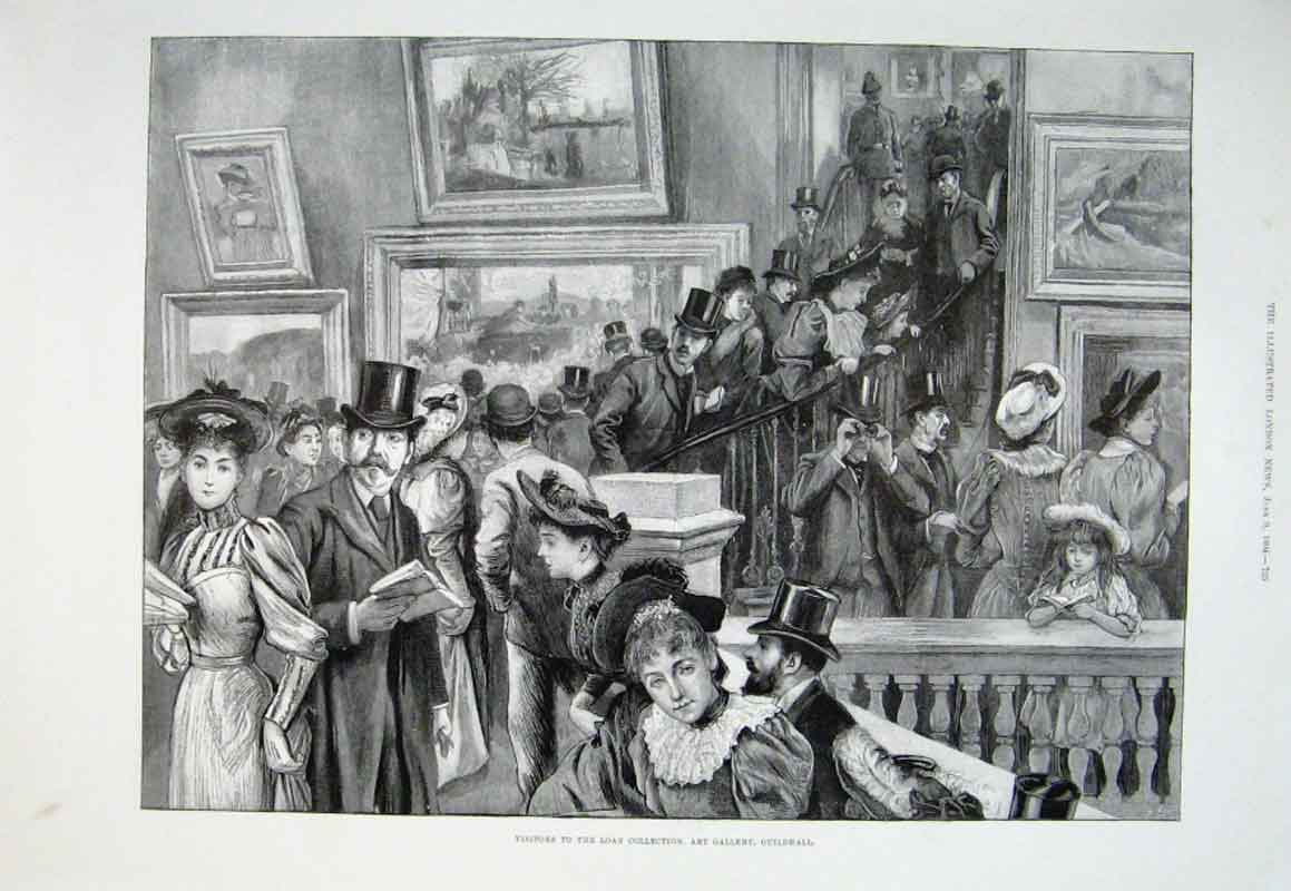 Print Visitors To Loan Art Collection Guildhall 1894 25Aaa0 Old Original
