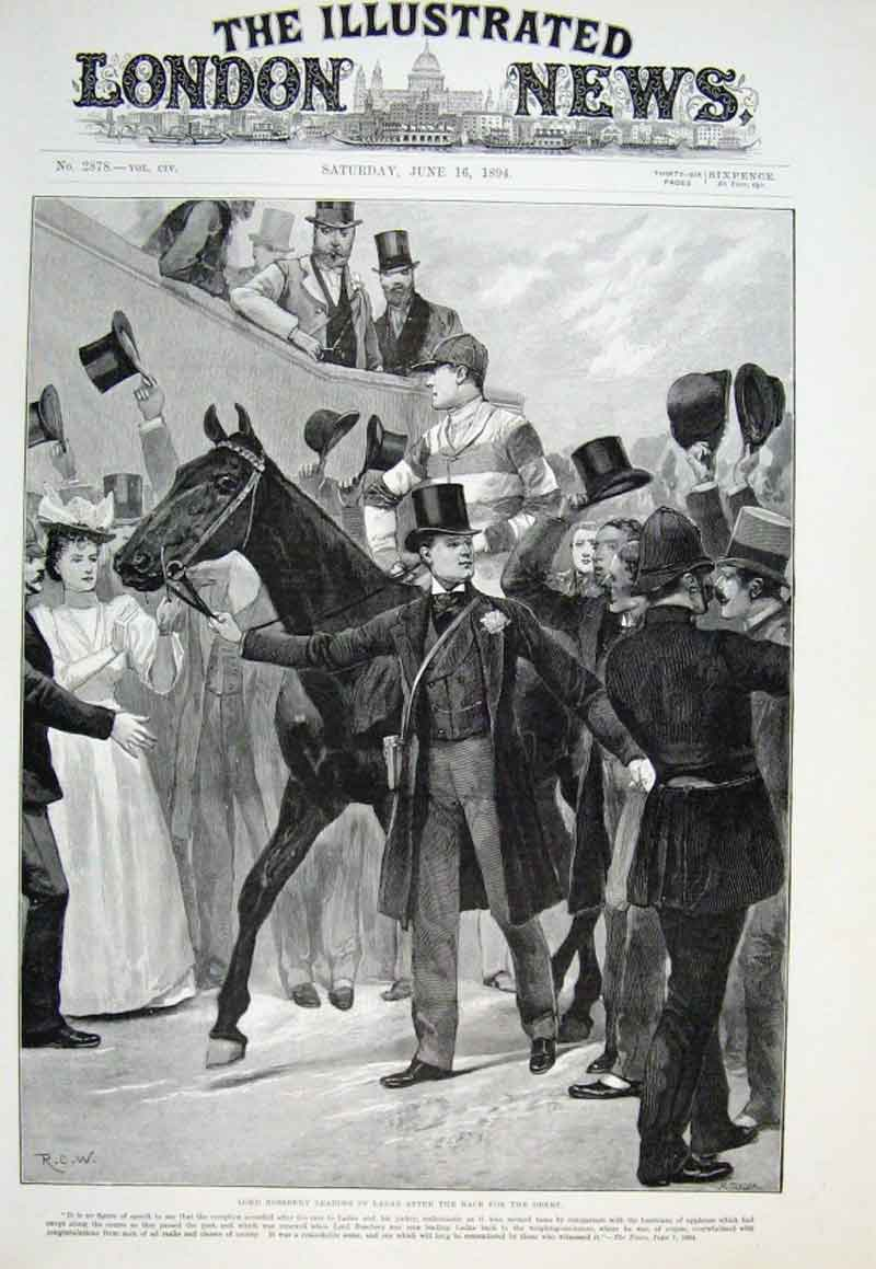 Print Lord Roseberry Leads In Ladas After Derby Win 1894 38Aaa0 Old Original