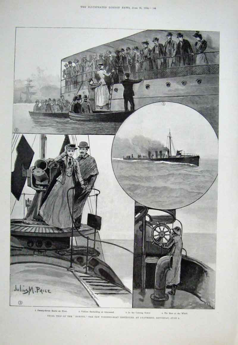 Print Trials New Torpedo Ship Hornet At Gravesend 1894 44Aaa0 Old Original