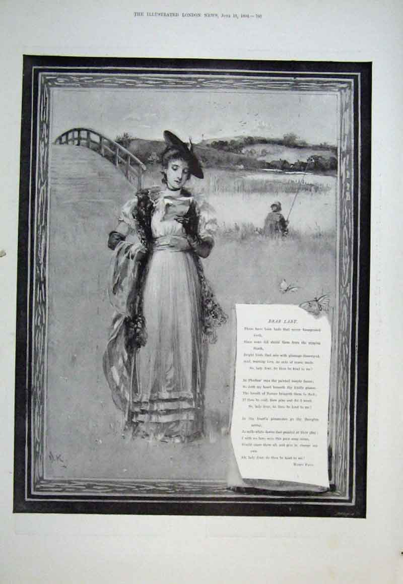 Print Letter To A Lady 1894 Fine Art 60Aaa0 Old Original