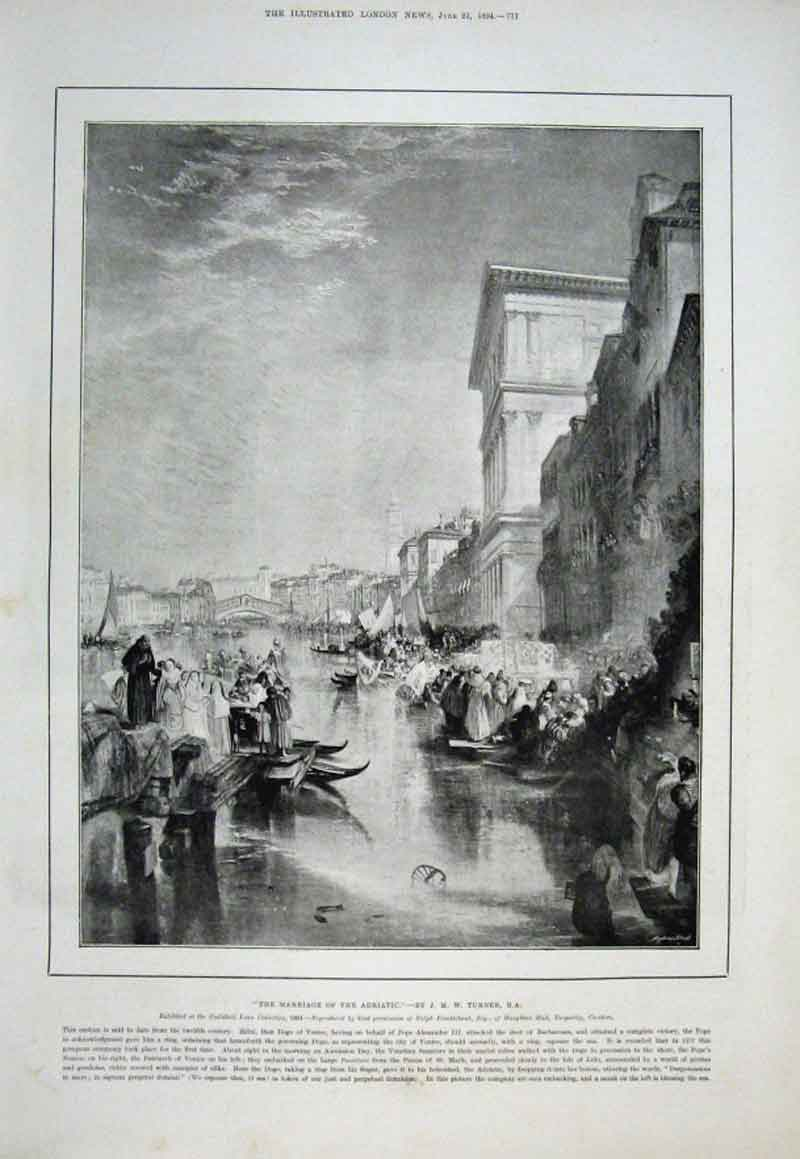 Print Marriage The Adriatic By Jmw Turner 1894 77Aaa0 Old Original