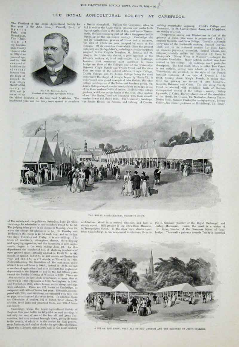 Print Royal Agricultural Show Cambridge 1894 85Aaa0 Old Original
