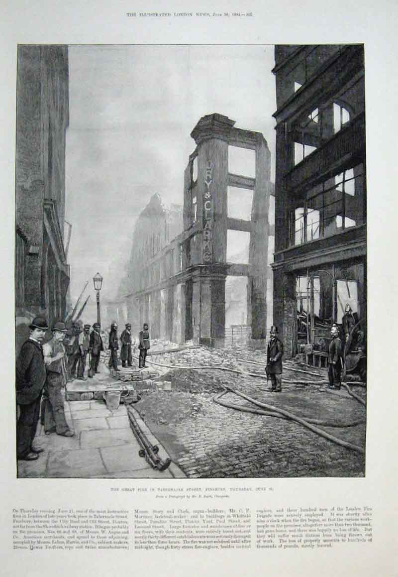 Print Great Fire Tabernacle Street Finsbury 1894 25Aaa0 Old Original