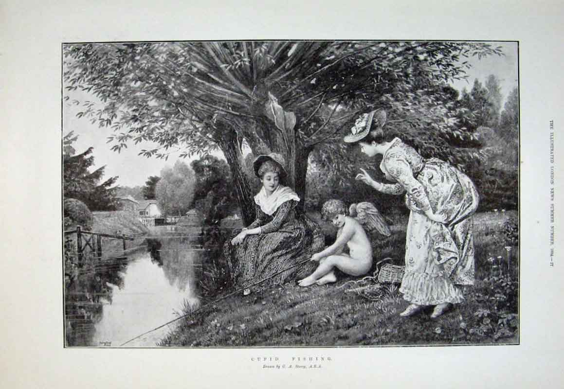Print Cupid Fishing Fine Art By Storey 1894 81Aaa0 Old Original