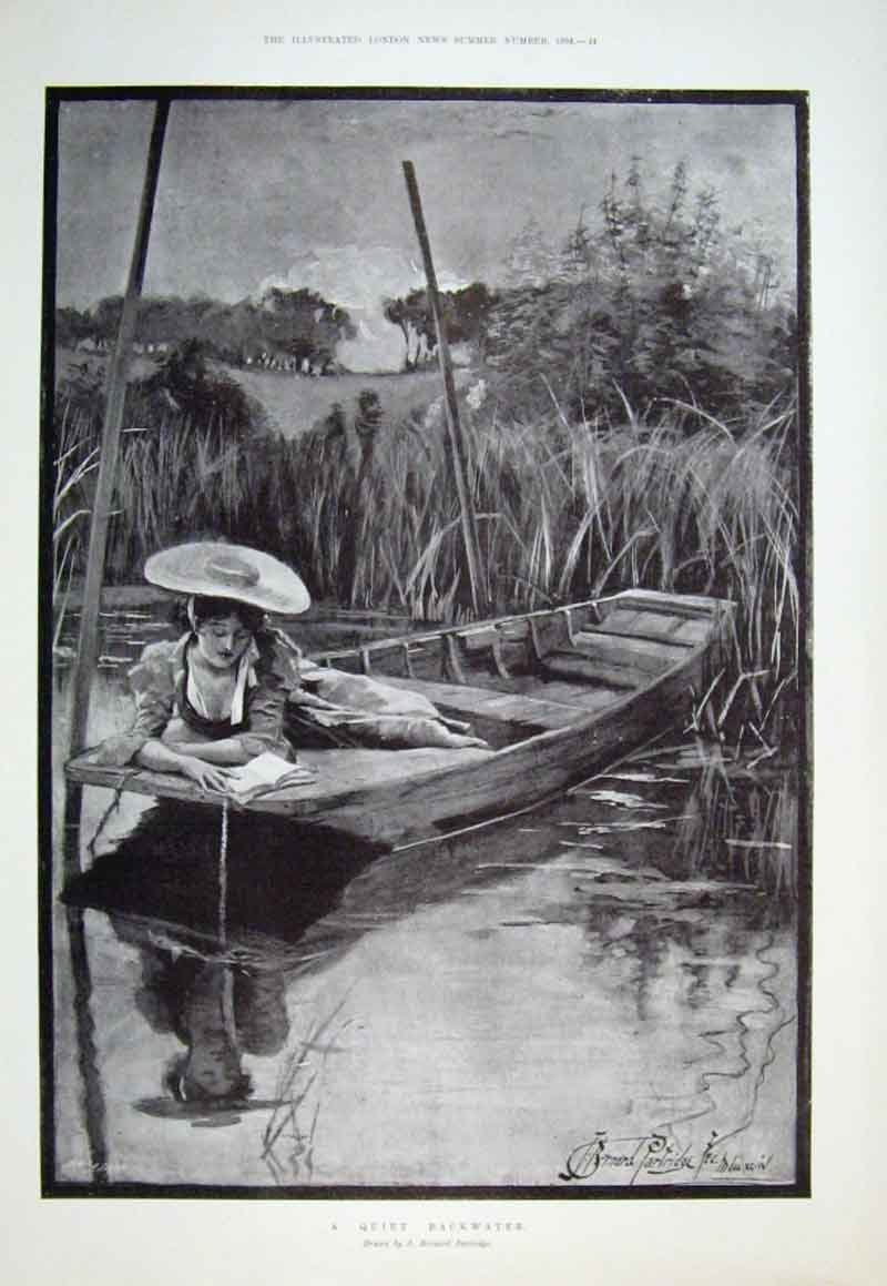 Print Quiet Backwater Fine Art By Partridge 1894 82Aaa0 Old Original