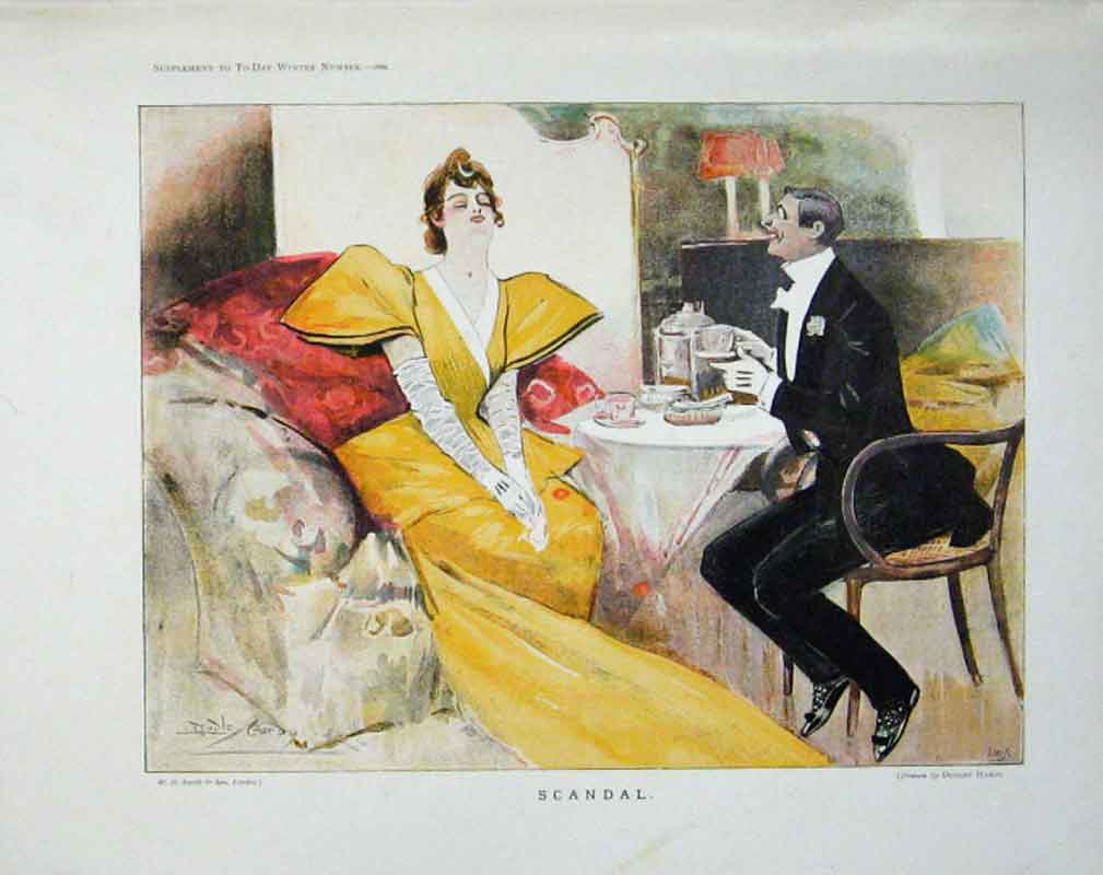 Print Scandal Fine Art By Dudley Hardy 1894 91Aaa0 Old Original