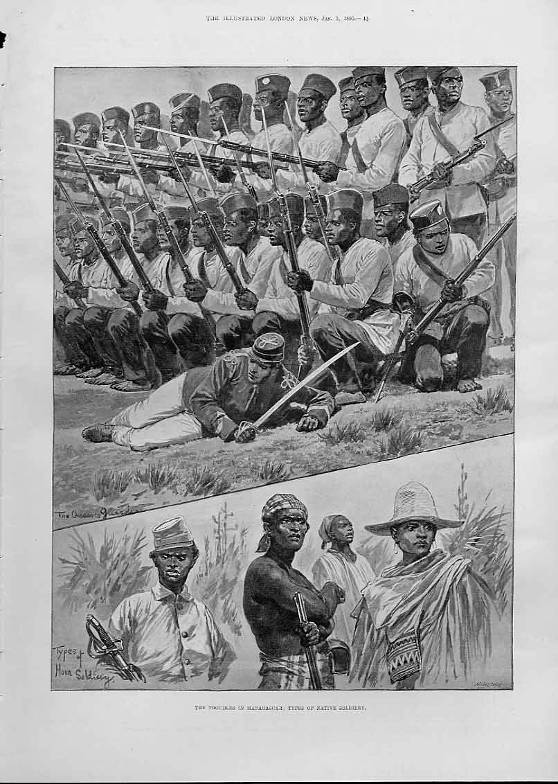 Print Types Native Soldiers Madagascar 1895 13Aaa0 Old Original