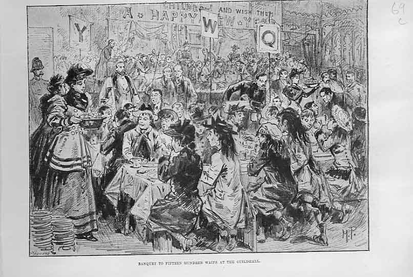 Print Banquet To 1500 Waifs At Guildhall London 1895 69Laaa0 Old Original