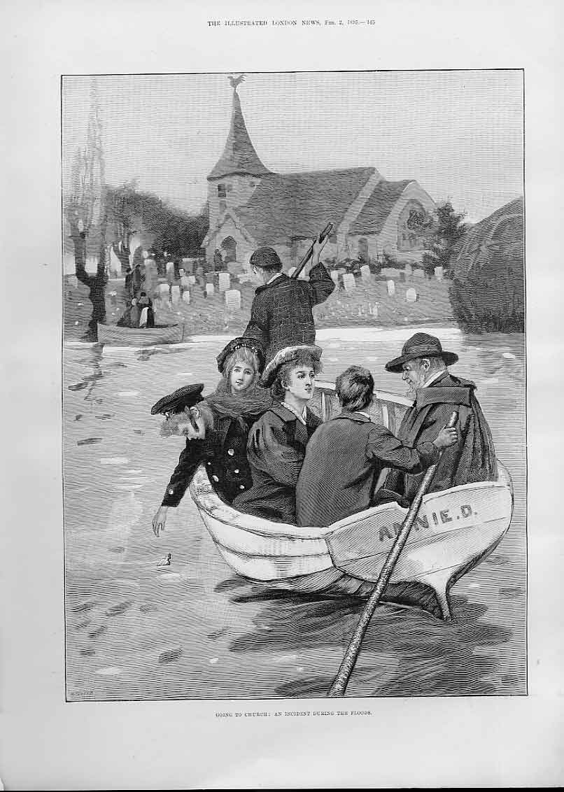 Print Going To Church By Boat After Floods 1895 45Aaa0 Old Original
