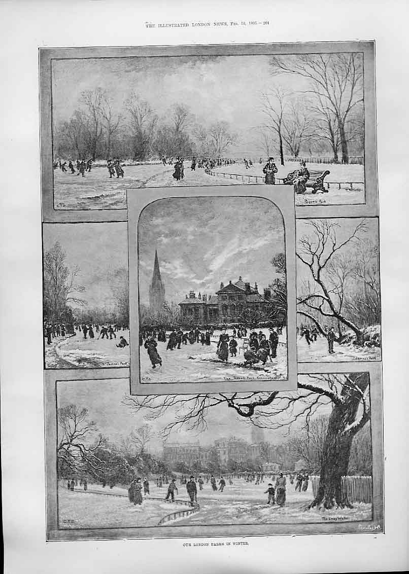 Print Our London Parks Winter 1895 04Aaa0 Old Original