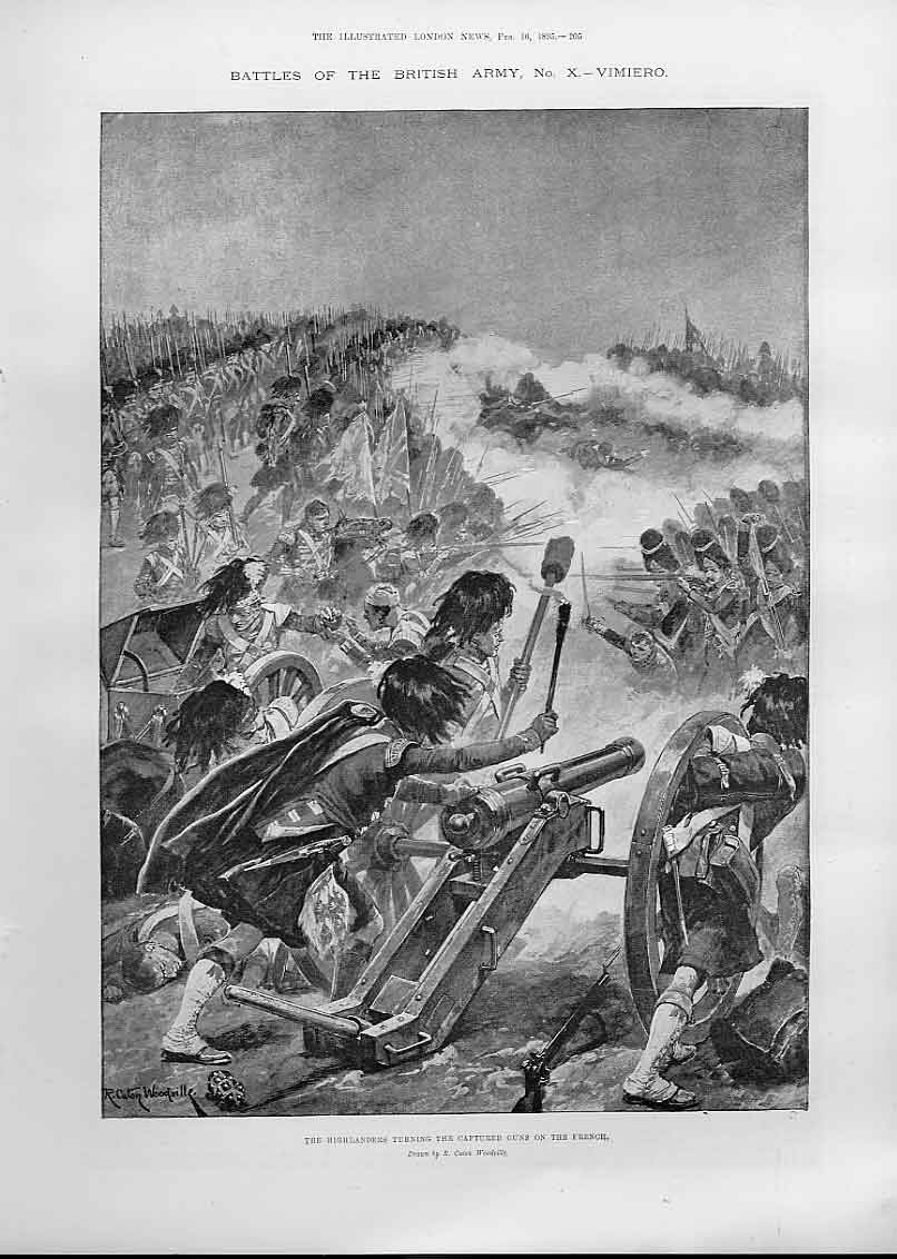 Print The Highlanders Turning Captured Guns On The French 05Aaa0 Old Original