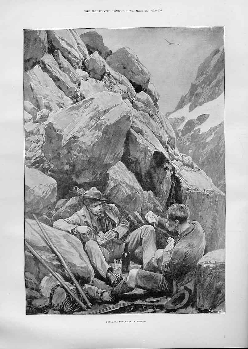 Print Tyrolese Poachers In Hiding 1895 56Aaa0 Old Original
