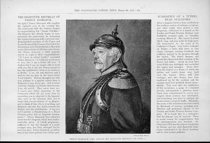 Print Prince Bismark On His 80Th Birhday 1895 72Uaaa0 Old Original