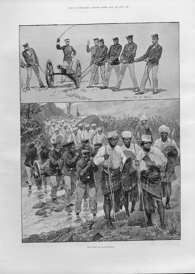 Print The Army Madagascar 1895 81Aaa0 Old Original