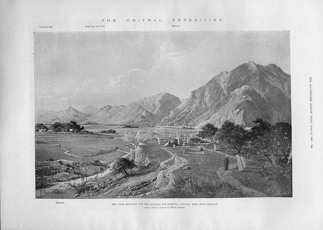 Print Pudja Mouintain & Ranzeezai Baneezai Country India 1895 00Aaa0 Old Original