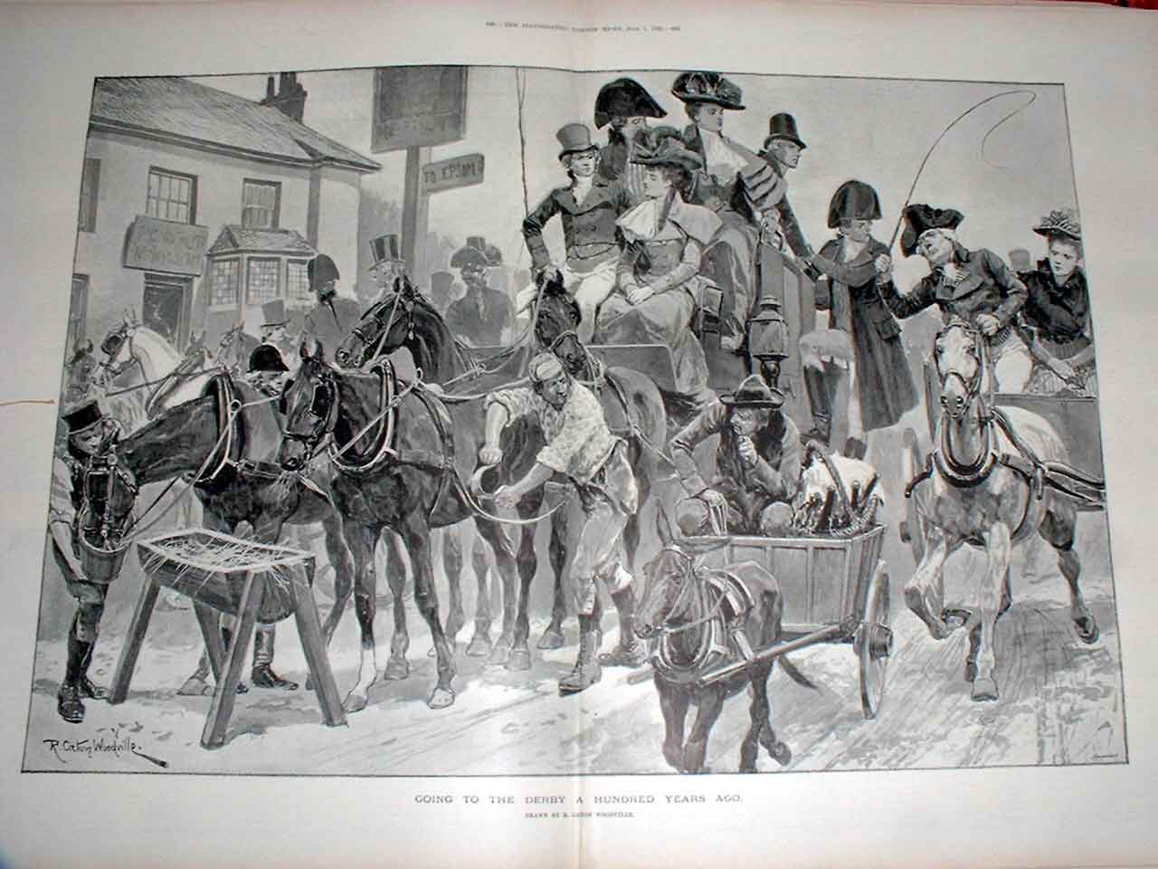 Print Going To The Derby 1795 Fine Art Horses 79Taaa0 Old Original
