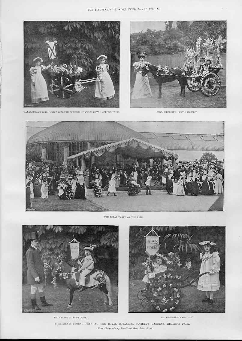 Print Childrens Floral Fete Regents Park 1895 81Aaa0 Old Original