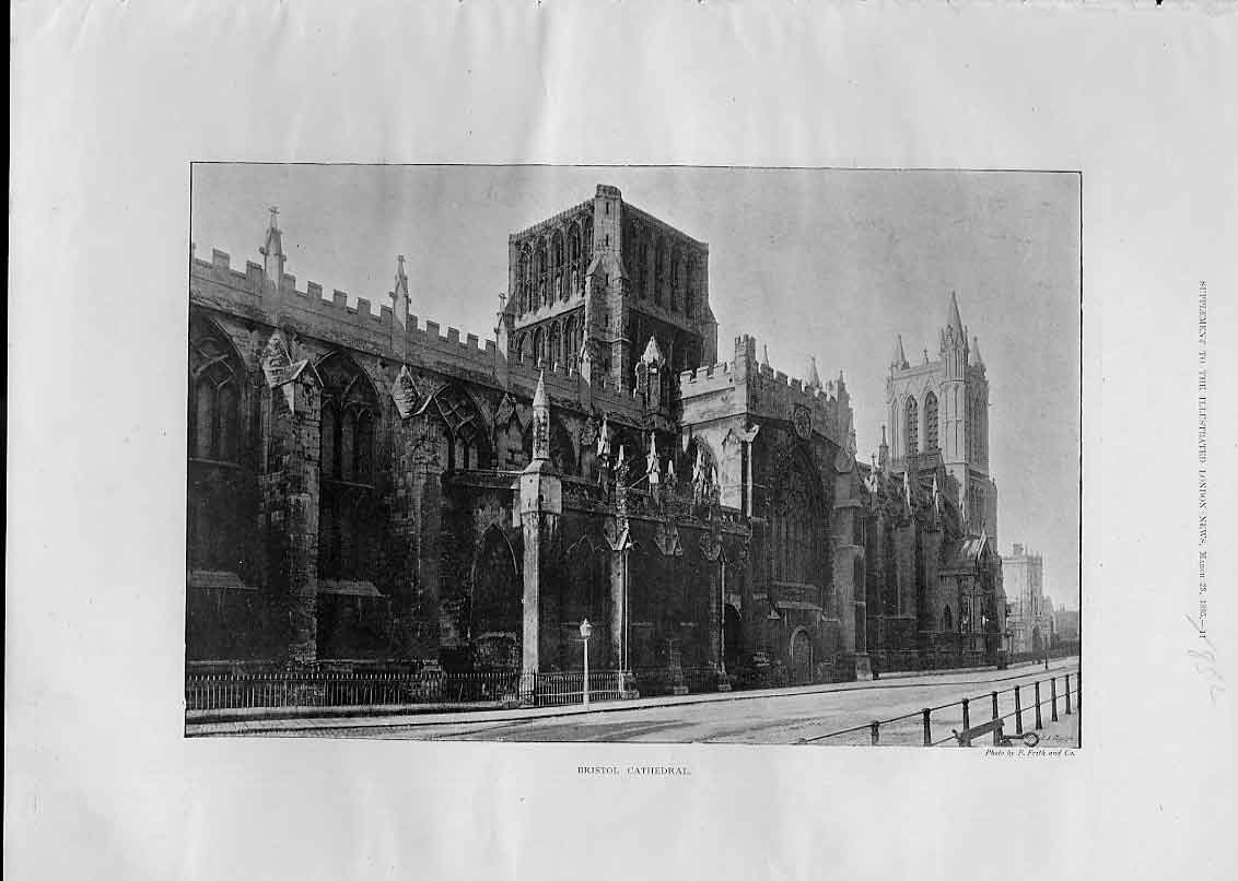 Print Bristol Cathedral 1895 52Aaa0 Old Original