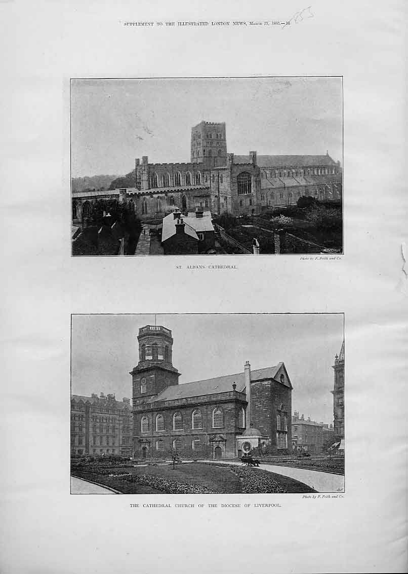 Print St Albans Cathedral & Cathedral Church Liverpool 53Aaa0 Old Original