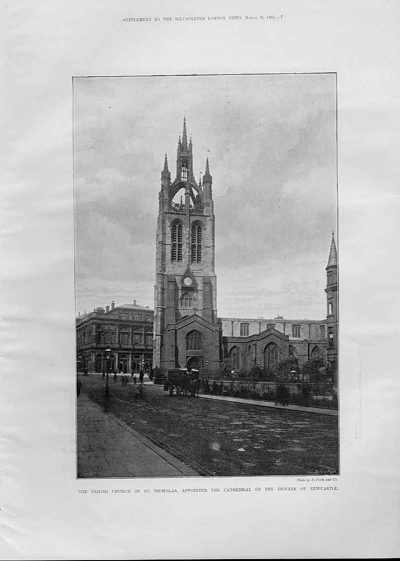 Print Church St Nicholas Appointed Cathedral Newcastle 1895 54Aaa0 Old Original