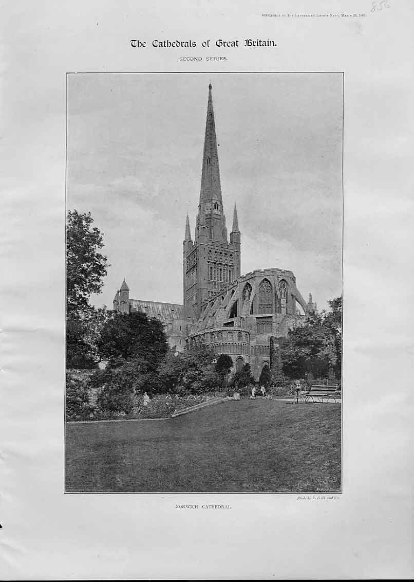 Print Norwich Cathedral 1895 56Aaa0 Old Original